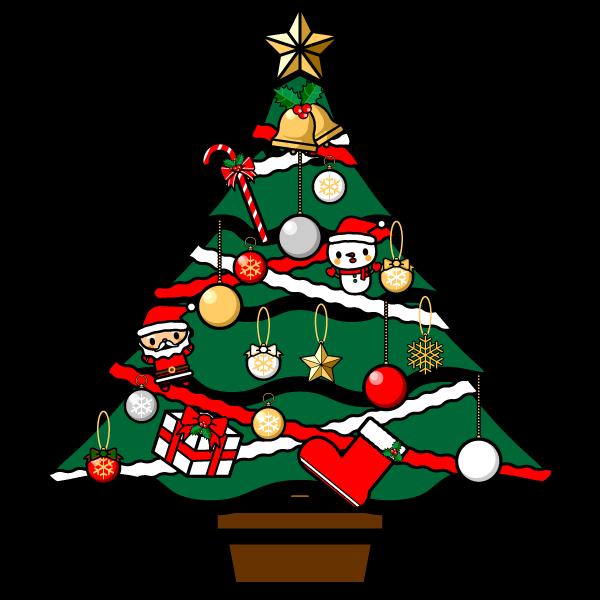 かわいいクリスマスツリーの無料イラスト・商用フリー