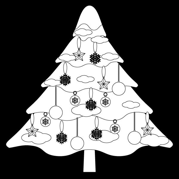 塗り絵に最適な白黒でかわいいクリスマスツリー2の無料イラスト・商用フリー