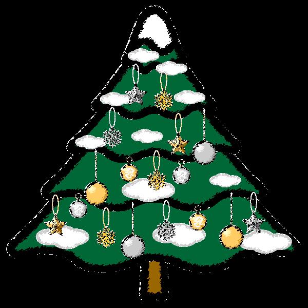 手書き風でかわいいクリスマスツリー2の無料イラスト・商用フリー