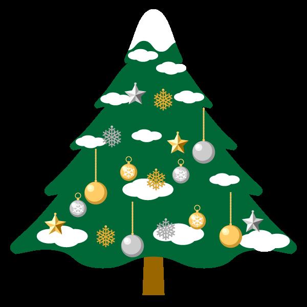縁無しでかわいいクリスマスツリー2の無料イラスト・商用フリー
