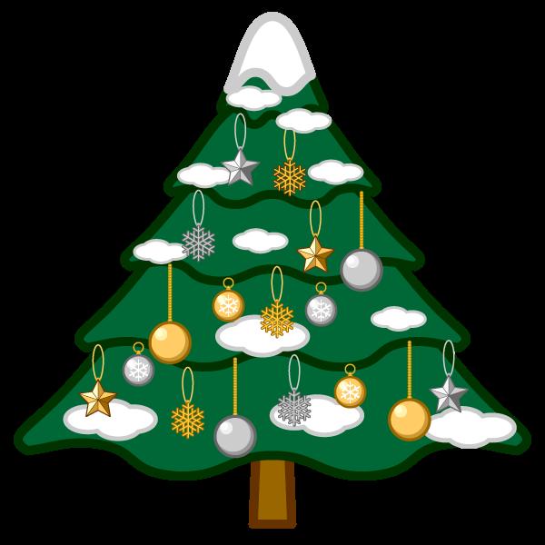 ソフトタッチでかわいいクリスマスツリー2の無料イラスト・商用フリー