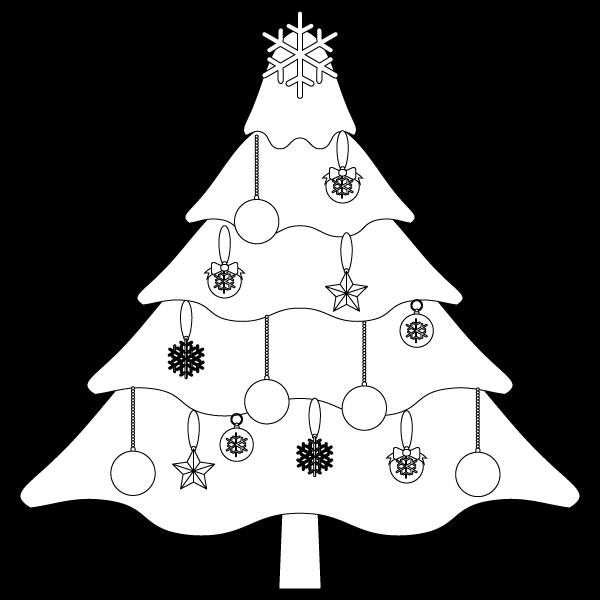 塗り絵に最適な白黒でかわいいクリスマスツリー3の無料イラスト・商用フリー