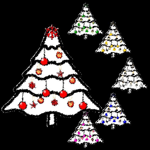 手書き風でかわいいクリスマスツリー3の無料イラスト・商用フリー
