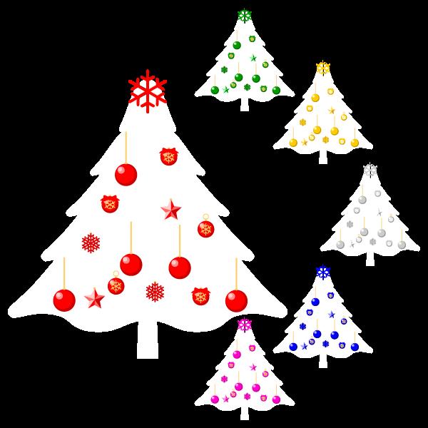 縁無しでかわいいクリスマスツリー3の無料イラスト・商用フリー