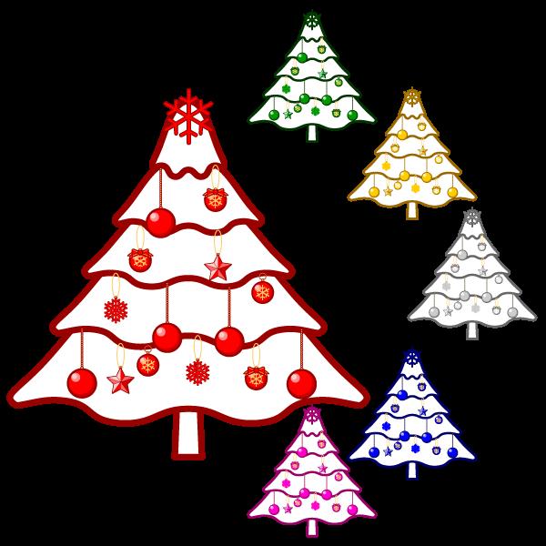 ソフトタッチでかわいいクリスマスツリー3の無料イラスト・商用フリー