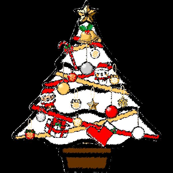 手書き風でかわいい白いクリスマスツリーの無料イラスト・商用フリー