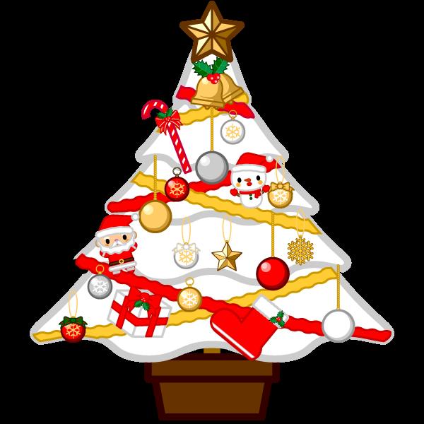 ソフトタッチでかわいい白いクリスマスツリーの無料イラスト・商用フリー