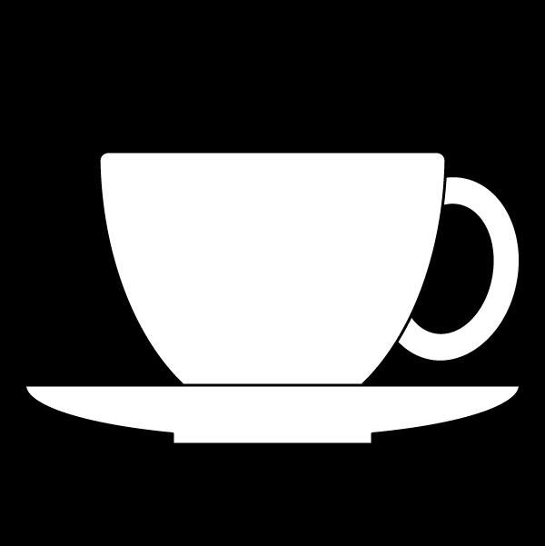 塗り絵に最適な白黒でかわいいコーヒーカップの無料イラスト・商用フリー