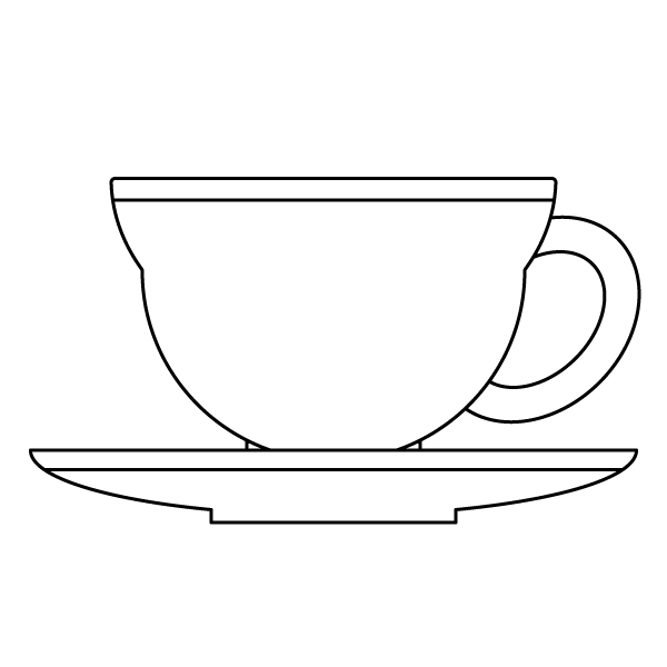塗り絵に最適な白黒でかわいいティーカップの無料イラスト・商用フリー