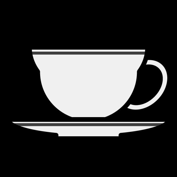 モノクロでかわいいティーカップの無料イラスト・商用フリー
