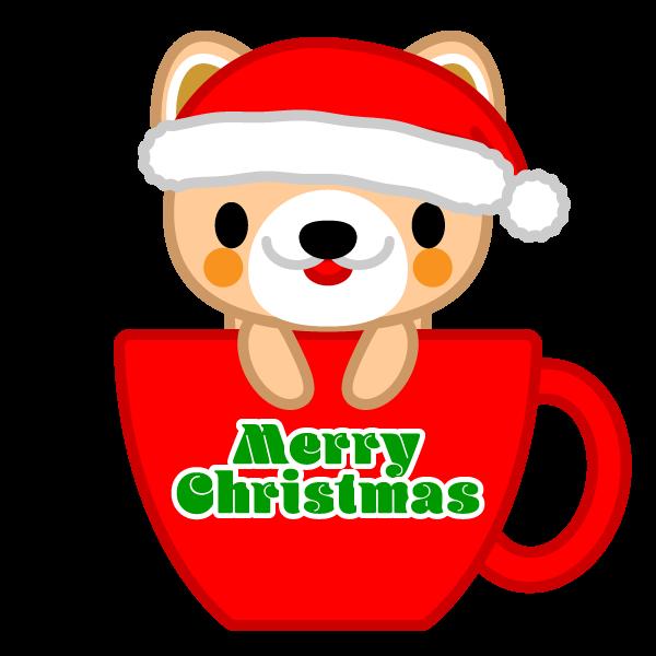 ソフトタッチでかわいいコーヒーカップ犬(クリスマスVer)の無料イラスト・商用フリー