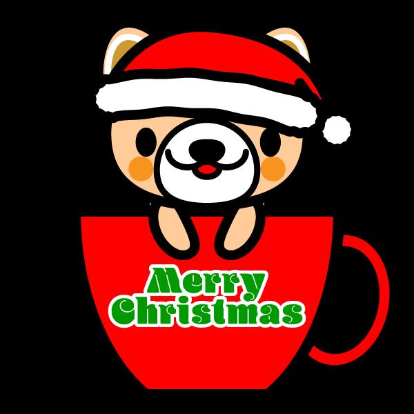 かわいいコーヒーカップ犬(クリスマスVer)の無料イラスト・商用フリー