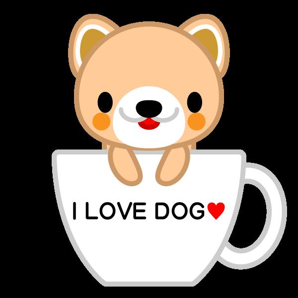 ソフトタッチでかわいいコーヒーカップ犬の無料イラスト・商用フリー