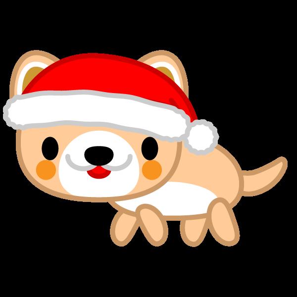 ソフトタッチでかわいい犬(クリスマスVer)の無料イラスト・商用フリー