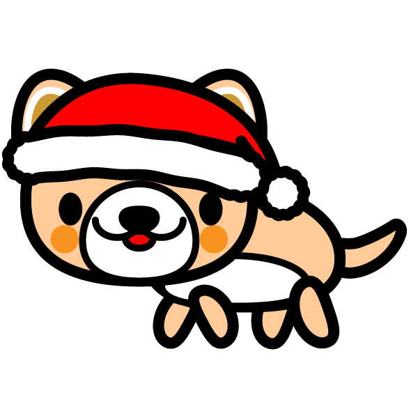かわいい犬(クリスマスVer)の無料イラスト・商用フリー