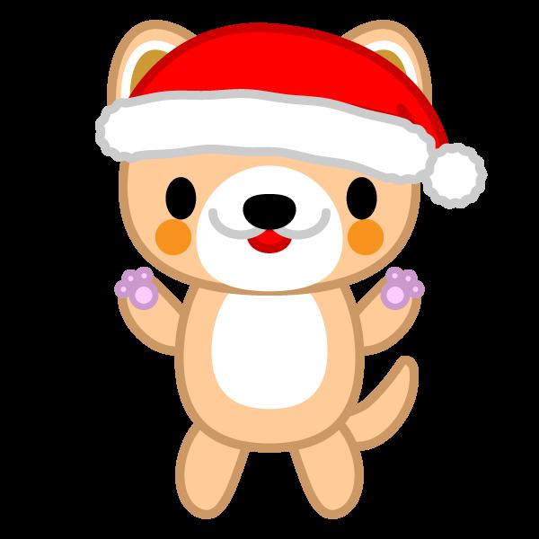 かわいい立っている犬(クリスマスVer)の無料イラスト・商用フリー