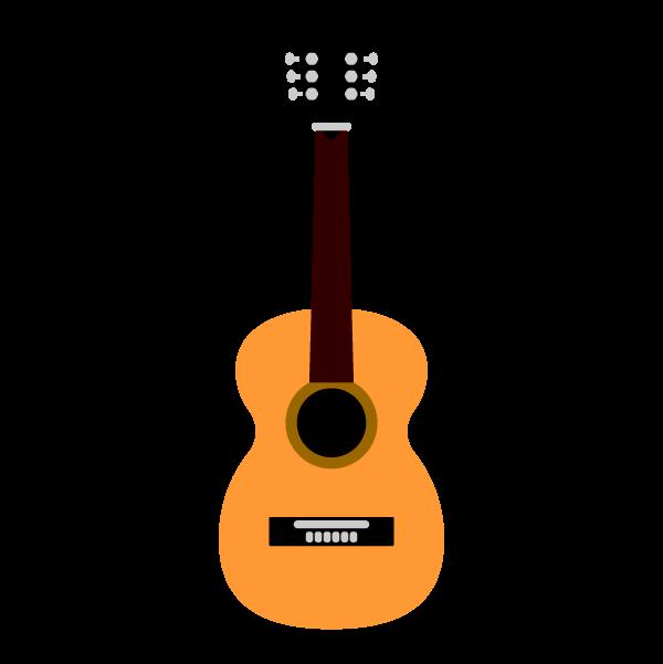 縁無しでかわいいアコースティックギターの無料イラスト・商用フリー