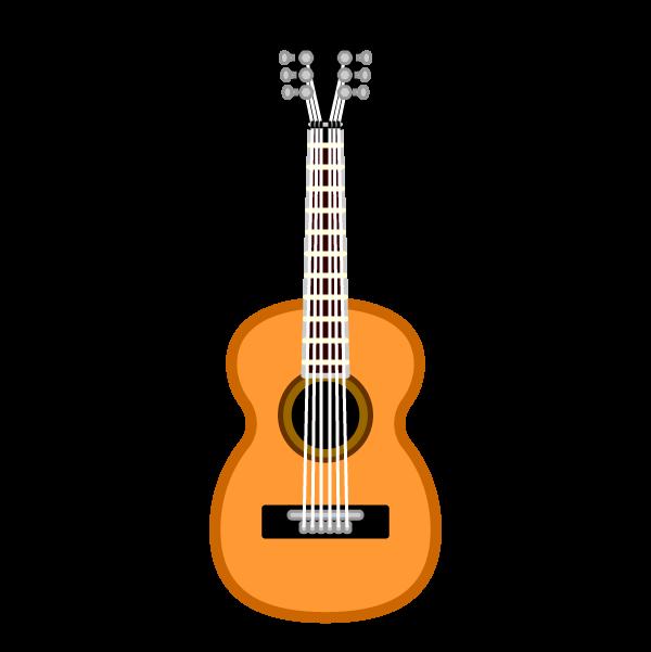 ソフトタッチでかわいいアコースティックギターの無料イラスト・商用フリー