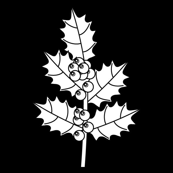 塗り絵に最適な白黒でかわいいヒイラギの無料イラスト・商用フリー