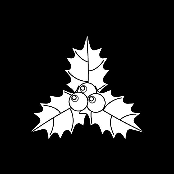 塗り絵に最適な白黒でかわいいヒイラギ2の無料イラスト・商用フリー