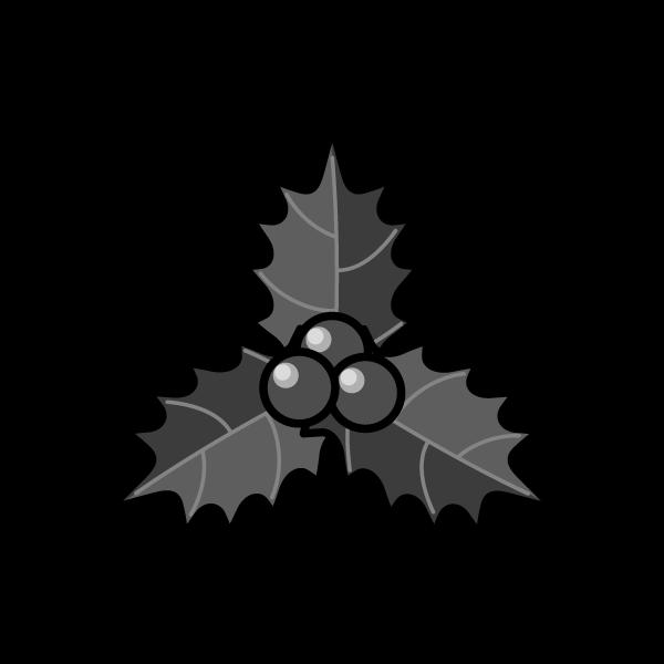 モノクロでかわいいヒイラギ2の無料イラスト・商用フリー