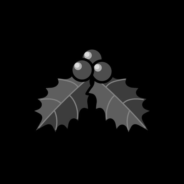 モノクロでかわいいヒイラギ3の無料イラスト・商用フリー