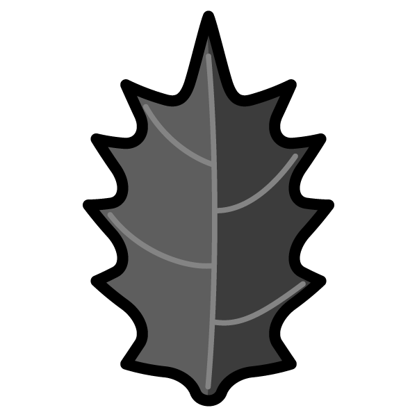 モノクロでかわいいヒイラギの葉っぱの無料イラスト・商用フリー