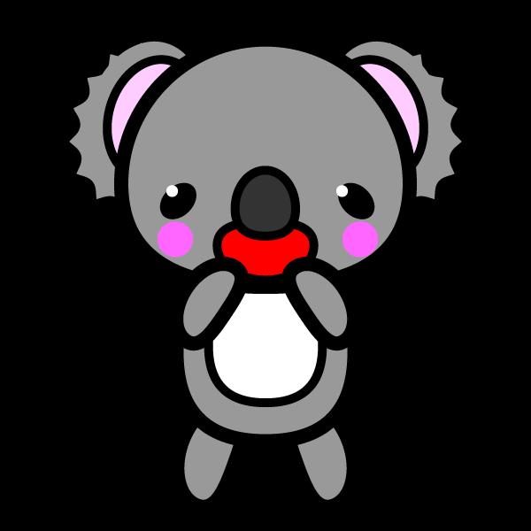 かわいい喜んでいる笑顔のコアラの無料イラスト・商用フリー