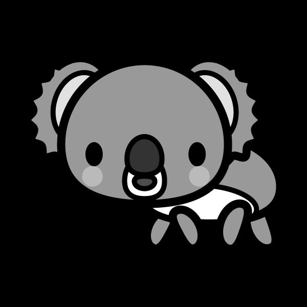 モノクロでかわいいコアラの無料イラスト・商用フリー