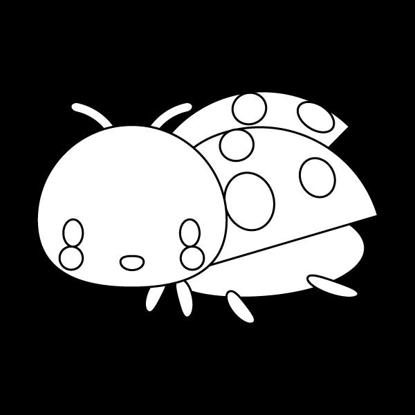 塗り絵に最適な白黒でかわいいてんとう虫の無料イラスト・商用フリー