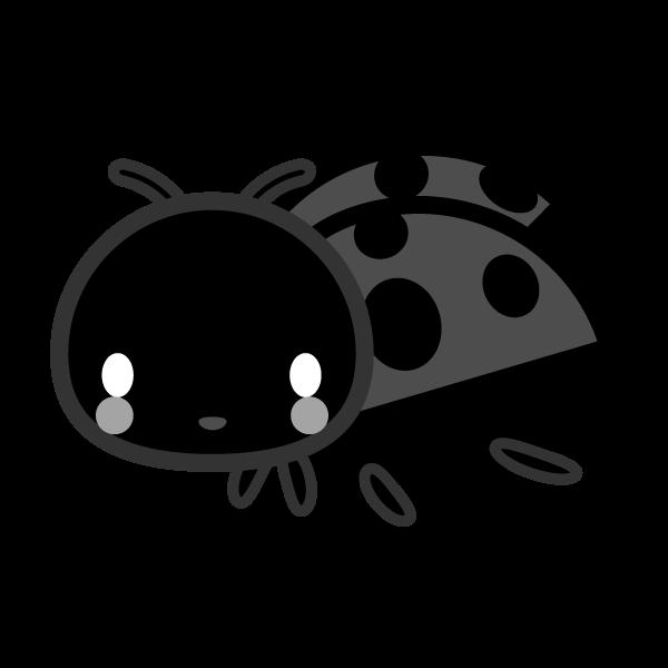 モノクロでかわいいてんとう虫の無料イラスト・商用フリー