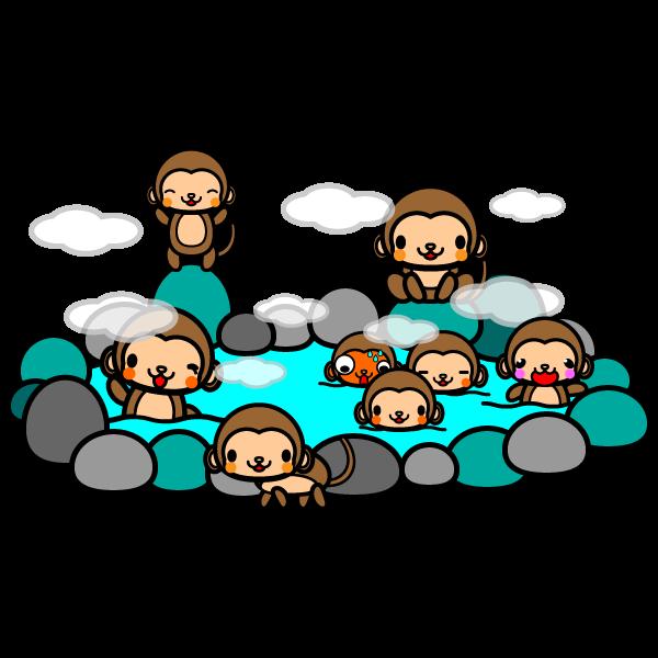 かわいい猿の温泉の無料イラスト・商用フリー