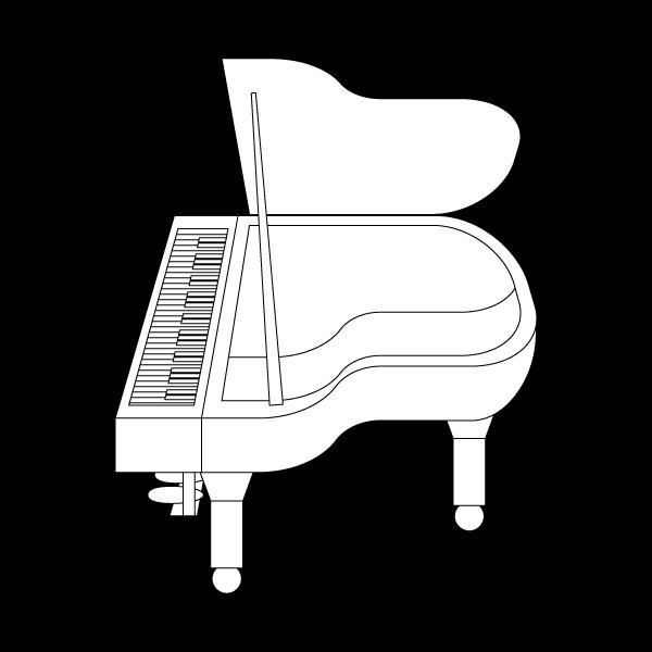 塗り絵に最適な白黒でかわいいピアノの無料イラスト・商用フリー