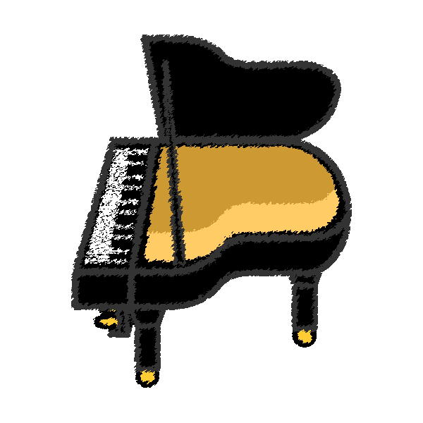 手書き風でかわいいピアノの無料イラスト・商用フリー