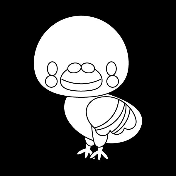 塗り絵に最適な白黒でかわいい鳩の無料イラスト・商用フリー