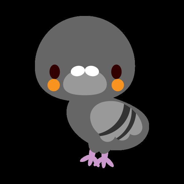 縁無しでかわいい鳩の無料イラスト・商用フリー