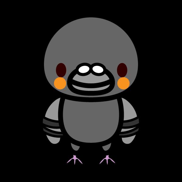 かわいい立っている鳩の無料イラスト・商用フリー