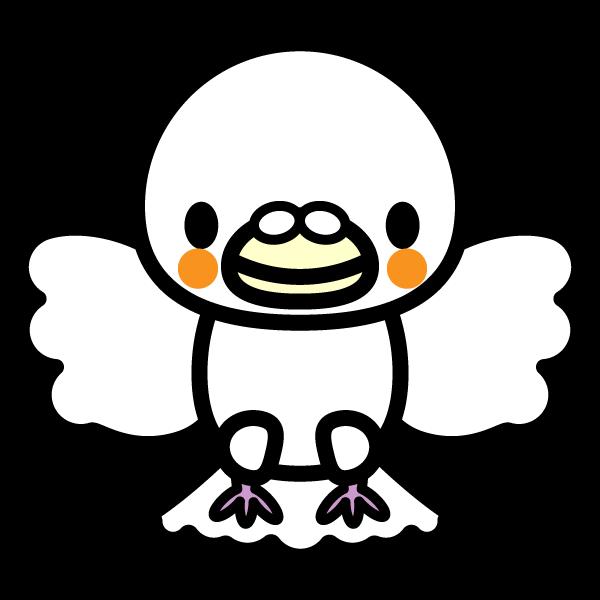 かわいい羽ばたく白い鳩の無料イラスト・商用フリー