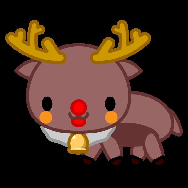ソフトタッチでかわいいクリスマストナカイの無料イラスト・商用フリー