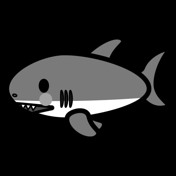 モノクロでかわいいサメの無料イラスト・商用フリー