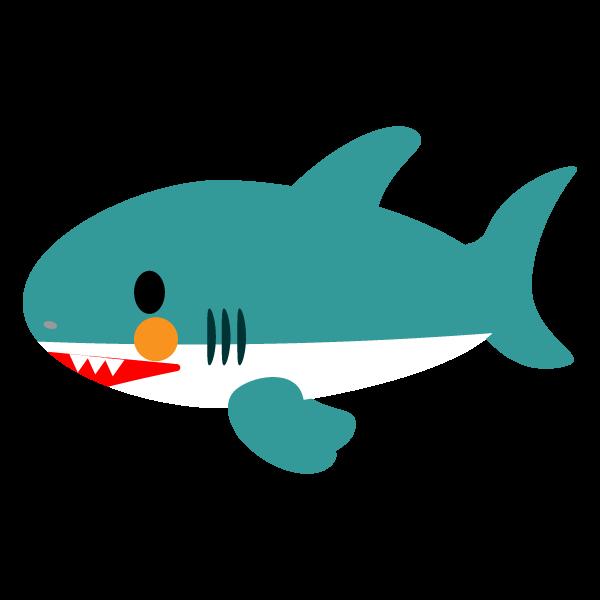 縁無しでかわいいサメの無料イラスト・商用フリー