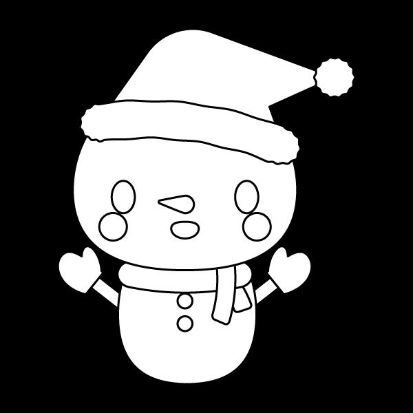 塗り絵に最適な白黒でかわいいクリスマス雪だるまの無料イラスト・商用フリー