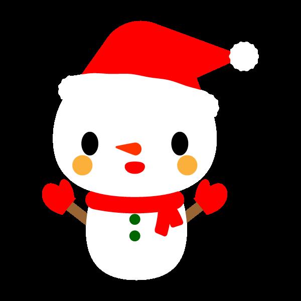 縁無しでかわいいクリスマス雪だるまの無料イラスト・商用フリー