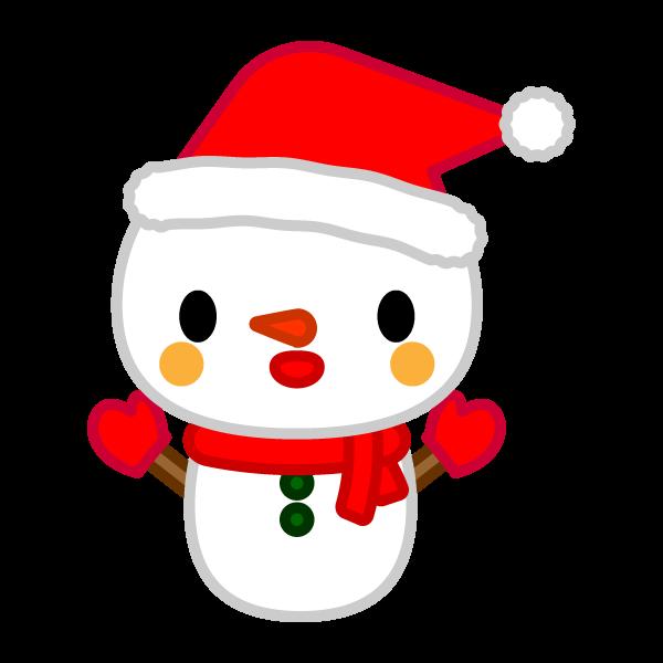 ソフトタッチでかわいいクリスマス雪だるまの無料イラスト・商用フリー