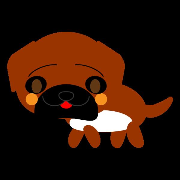 縁無しでかわいい土佐犬の無料イラスト・商用フリー