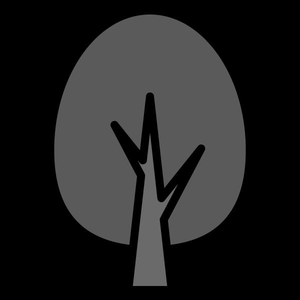 モノクロでかわいい木2の無料イラスト・商用フリー