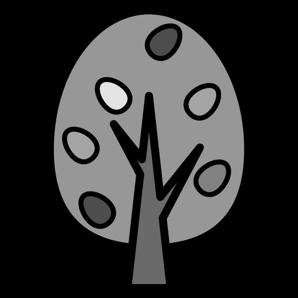 モノクロでかわいい秋の木の無料イラスト・商用フリー