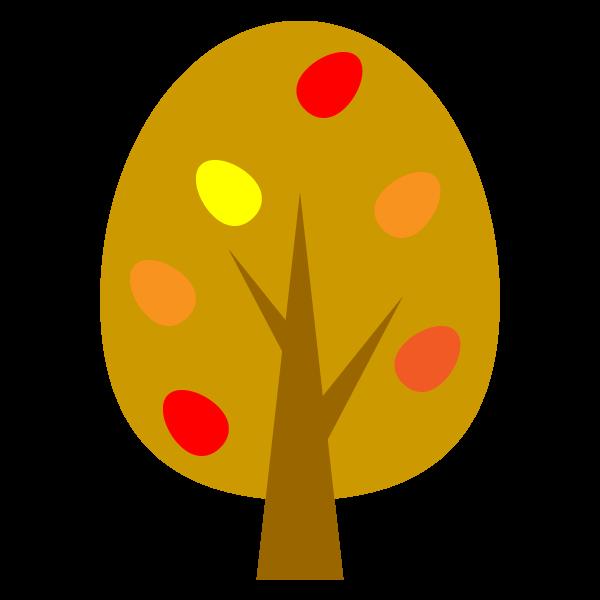 縁無しでかわいい秋の木の無料イラスト・商用フリー