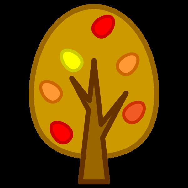 ソフトタッチでかわいい秋の木の無料イラスト・商用フリー