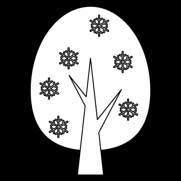 塗り絵に最適な白黒でかわいい冬の木の無料イラスト・商用フリー